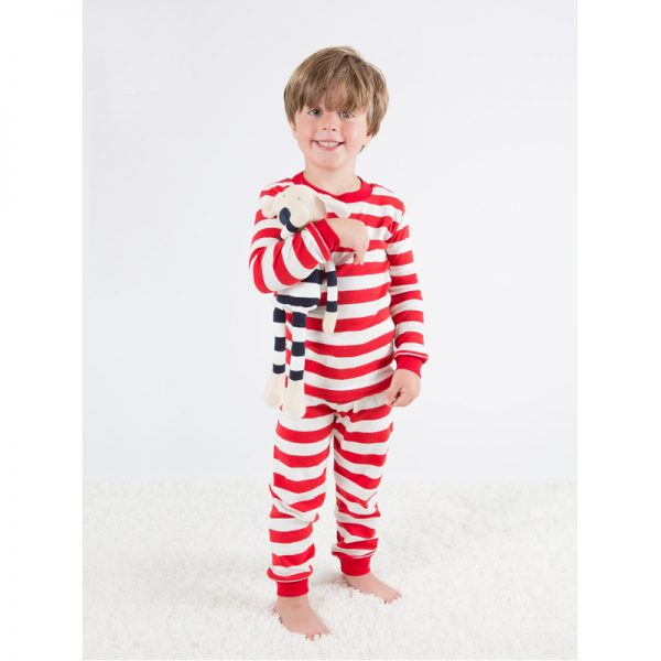 EarthHero - Red Striped Baby and Kids Long Johns 4