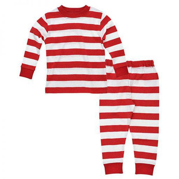 EarthHero - Red Striped Baby and Kids Long Johns 1