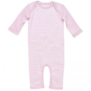 EarthHero - Striped Long Sleeve Baby Romper - Pink Stripes
