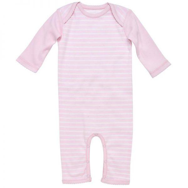 EarthHero - Striped Long Sleeve Baby Romper - Pink Stripes