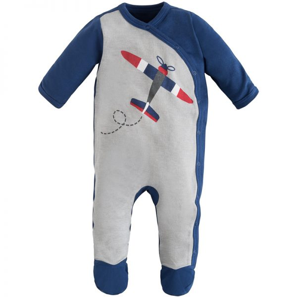 EarthHero - Twilight Planes Side Snap Baby Footie - Flying Plane