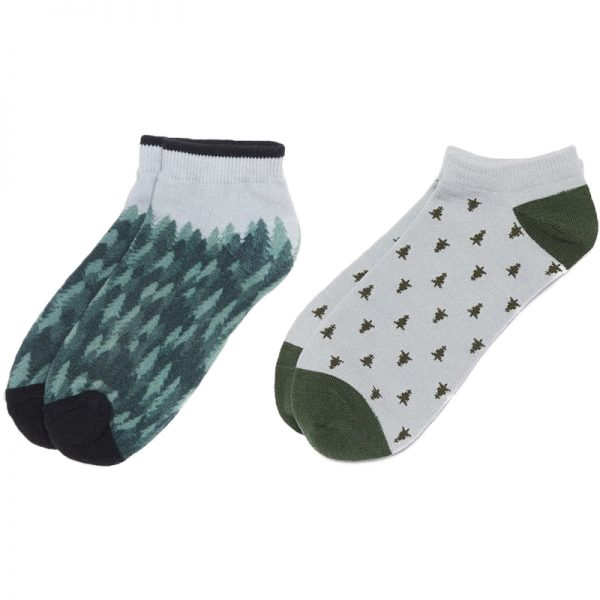 EarthHero - tentree 2-Pack Forest/Lunar Recycled Polyester Ankle Socks - Forest Green/Lunar Rock - L/XL