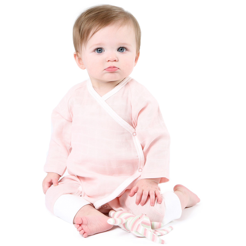 EarthHero - Organic Muslin Side Snap Baby Kimono - 2