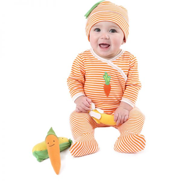 EarthHero - Veggie Side Snap Baby Footie - 2