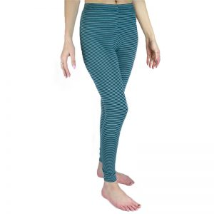 EarthHero - Organic Cotton Striped Ankle Leggings - Jade/Teal