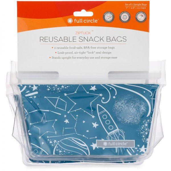 EarthHero - Kids ZipTuck Reusable Snack Bags -  Space