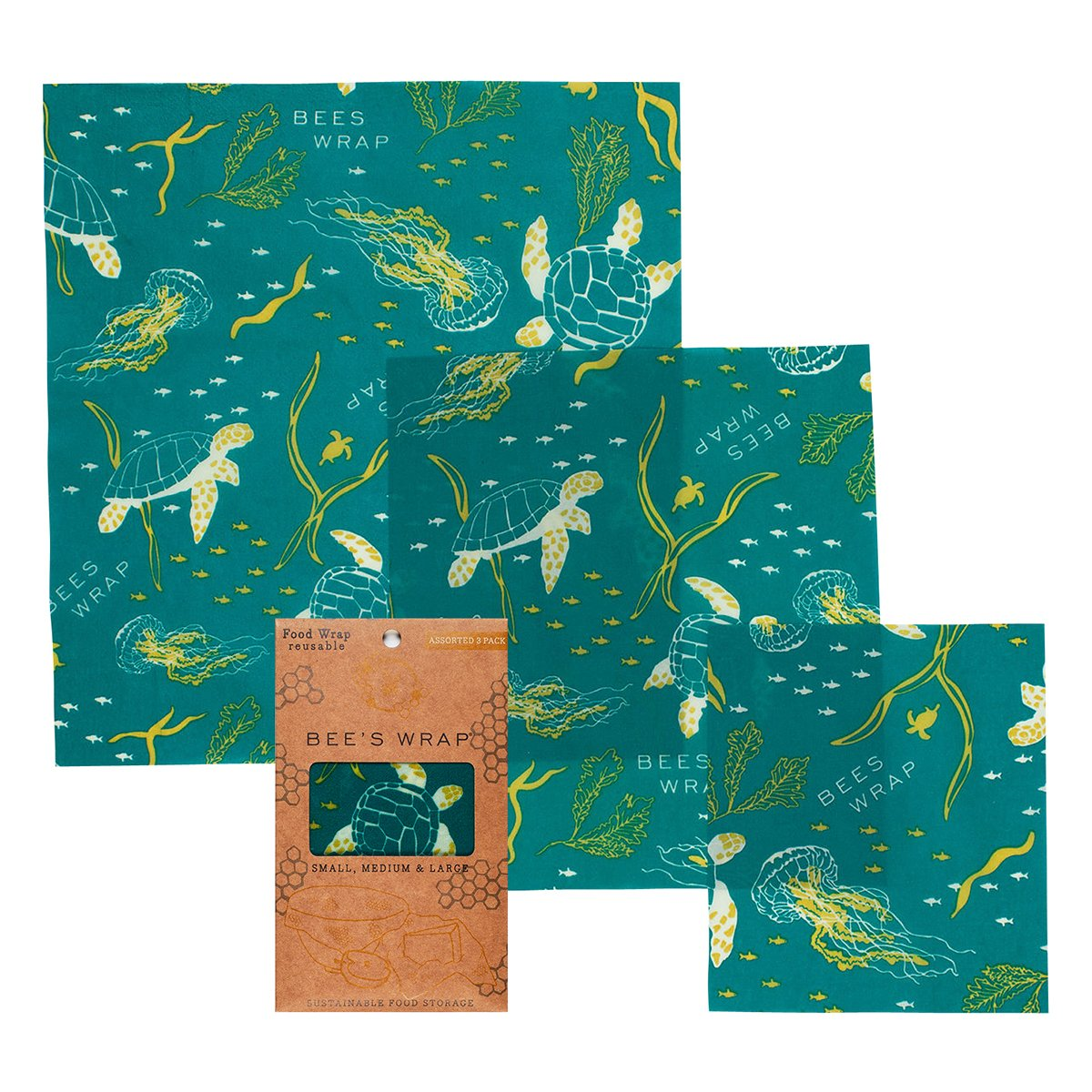 Reusable Beeswax Wraps Assorted Sizes (3 Pk)