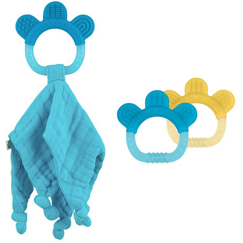 EarthHero - Organic Cotton Blankie + Teething Ring  - Aqua
