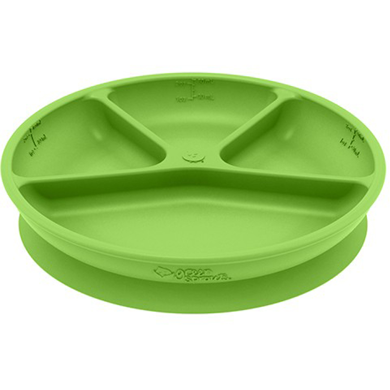 EarthHero - Silicone Learning Baby Plate - Green