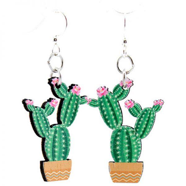 EarthHero - Flowering Cactus Wooden Earrings 1
