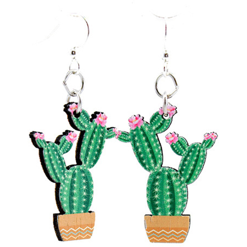 EarthHero - Flowering Cactus Wooden Earrings 1