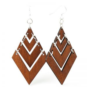 EarthHero - Fountain Pyramid Wooden Earrings 1