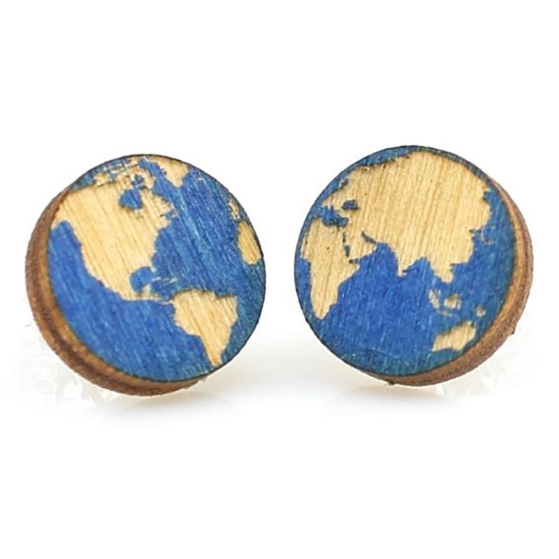 EarthHero - Globe Stud Wooden Earring 1