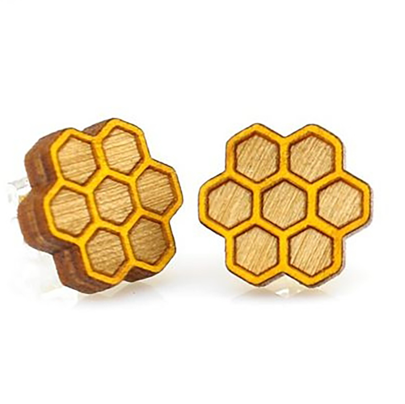 EarthHero - Honeycomb Stud  Wooden Earrings 1