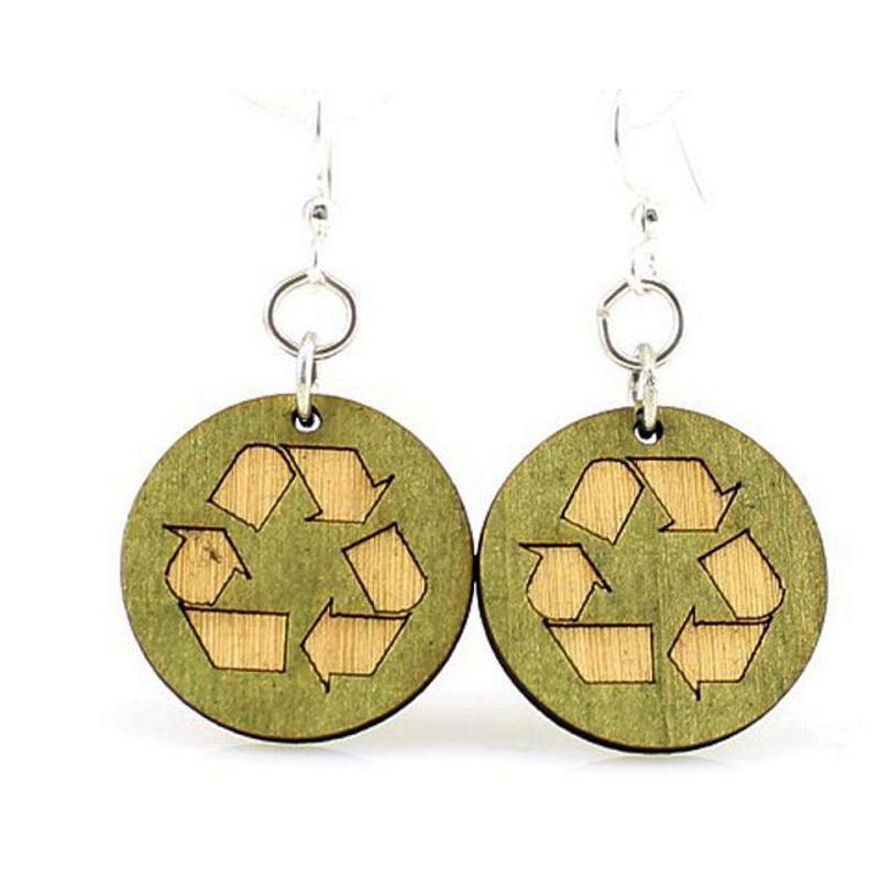 EarthHero - Recycle Symbol Wooden Earrings 1