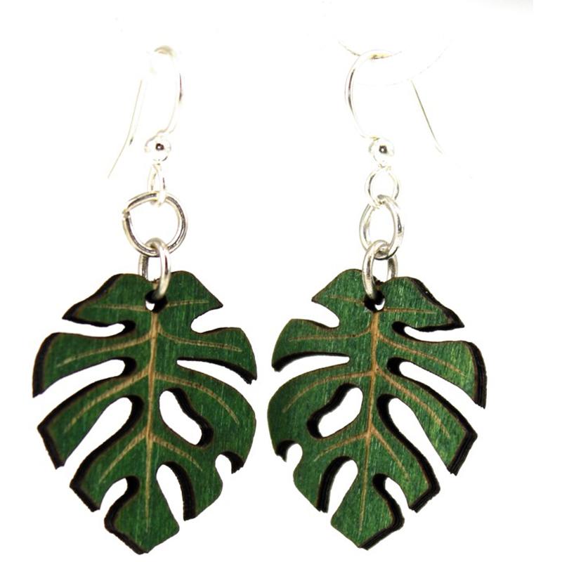 EarthHero - Split Philodendron Wooden Earrings 1