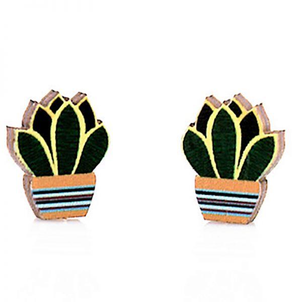 EarthHero - Succulent Stud Wooden Earrings 1