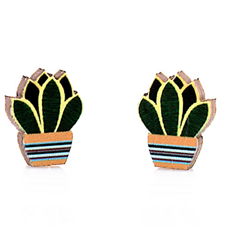 EarthHero - Succulent Stud Wooden Earrings 1