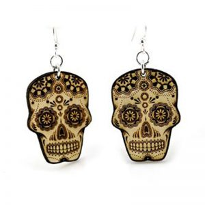 EarthHero - Sugar Skull Wooden Earrings 1
