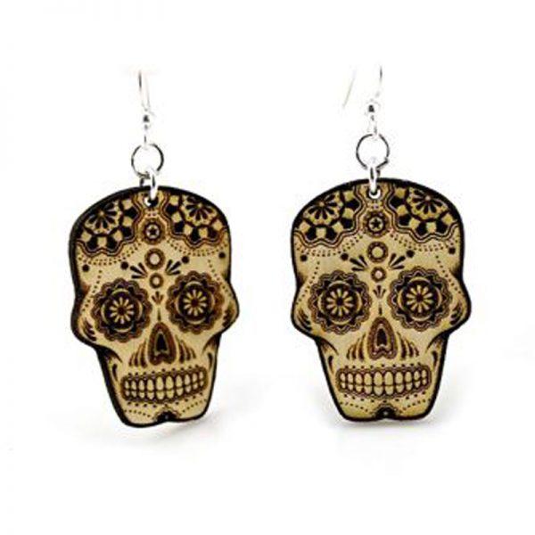 EarthHero - Sugar Skull Wooden Earrings 1