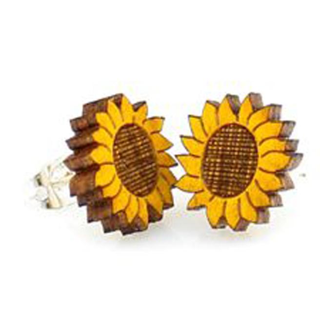 EarthHero - Sunflower Stud Wooden Earrings 1