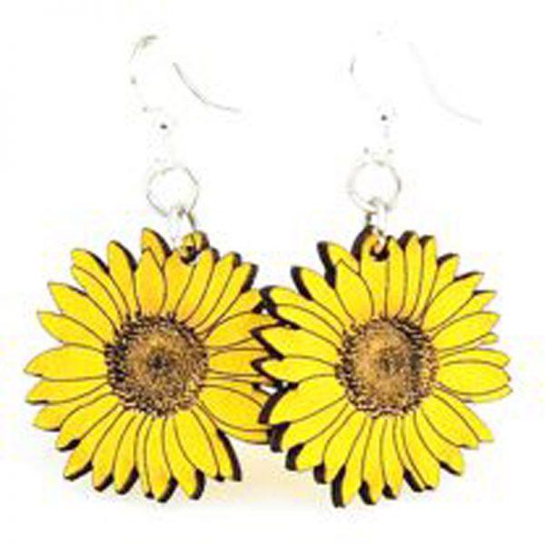 EarthHero - Sunflower Wooden Earrings 1