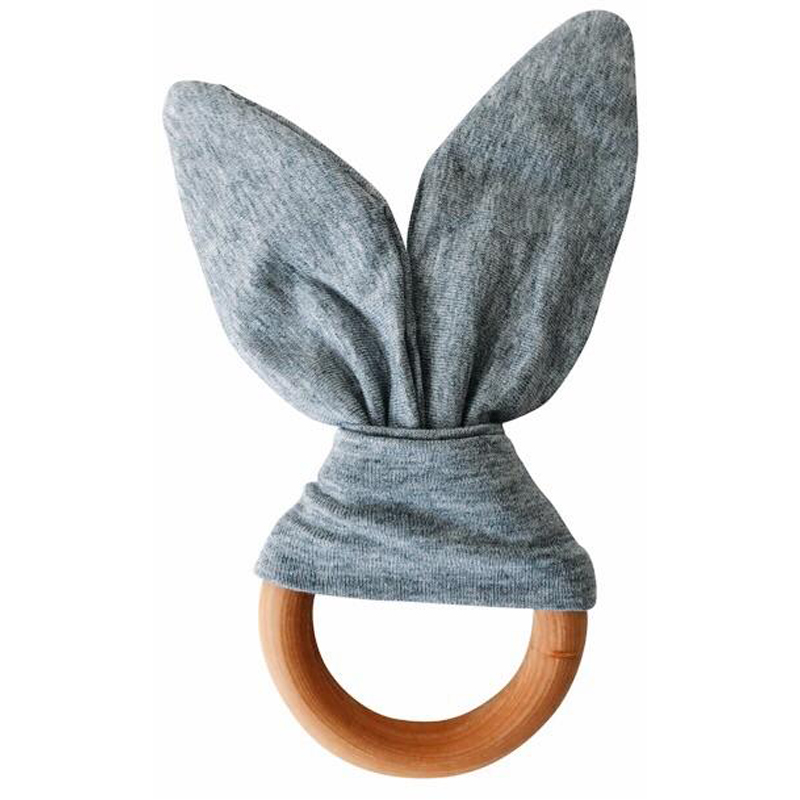 EarthHero - Bunny Ears Teething Ring - Grey