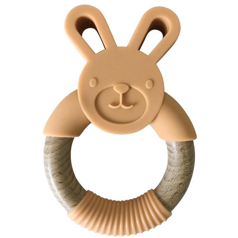 EarthHero - Bunny Silicone + Wood Teething Ring - Apricot