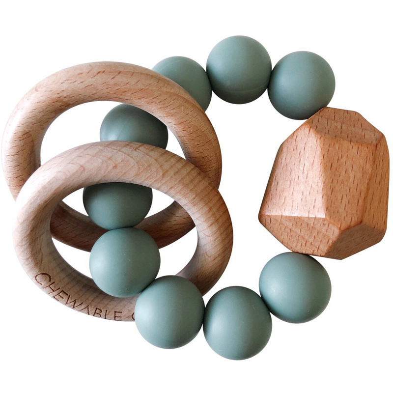 EarthHero - Hayes Silicone Beaded Teething Ring - Succulent