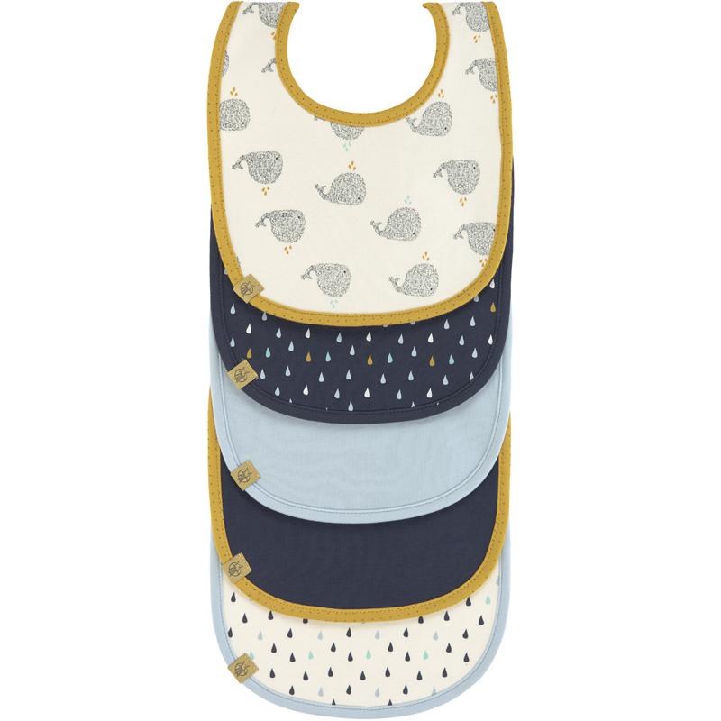 EarthHero - Little Water Lightweight Organic Cotton Baby Bibs - 5 pack - Whale