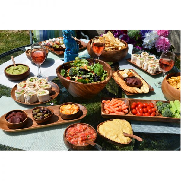 EarthHero - Acacia Wood Appetizer Serving Tray Set with Dip Bowls - 2