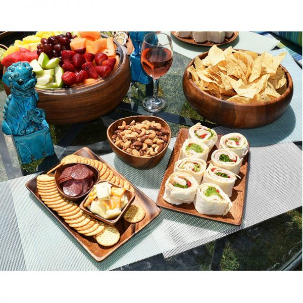 EarthHero - Acacia Wood Appetizer Serving Tray Set with Dip Bowls - 3