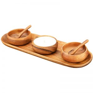 EarthHero - Acacia Wood Bread Serving Set with Candle - 1