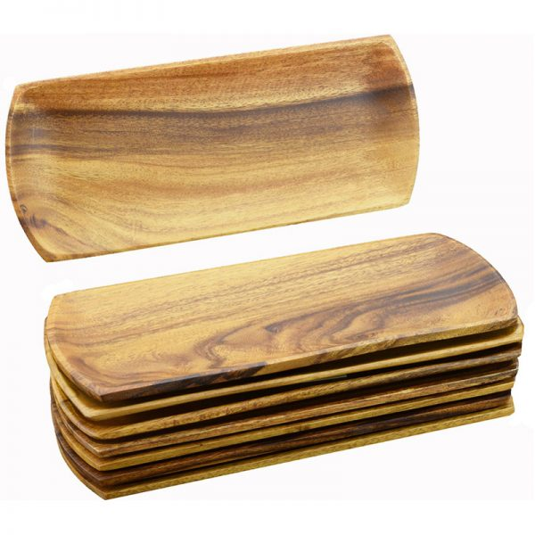 EarthHero - Oval Acacia Wood Appetizer Serving Trays - 8 piece - 1