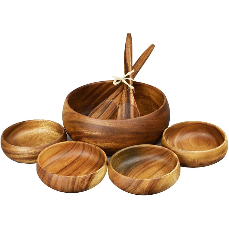 EarthHero - Round Acacia Wood Salad Bowl Serving Set  - 1