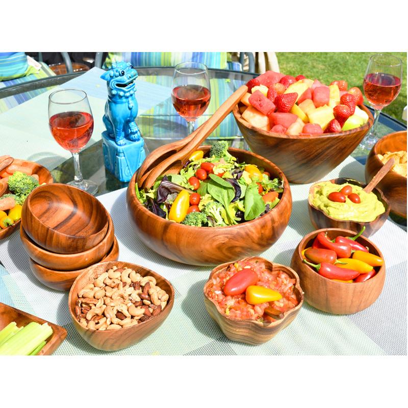 EarthHero - Round Acacia Wood Salad Bowl Serving Set  - 2