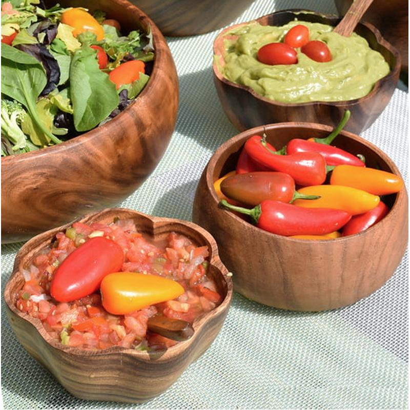 EarthHero - Round Acacia Wood Salad Bowl Serving Set  - 3