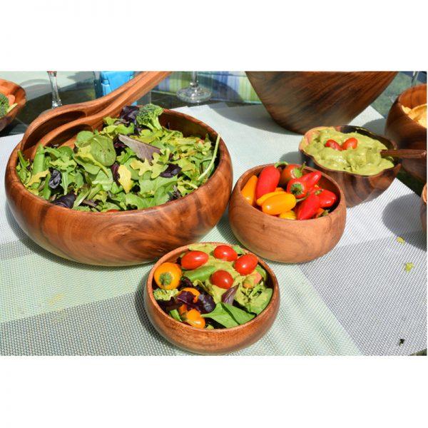 EarthHero - Round Acacia Wood Salad Bowls - 4