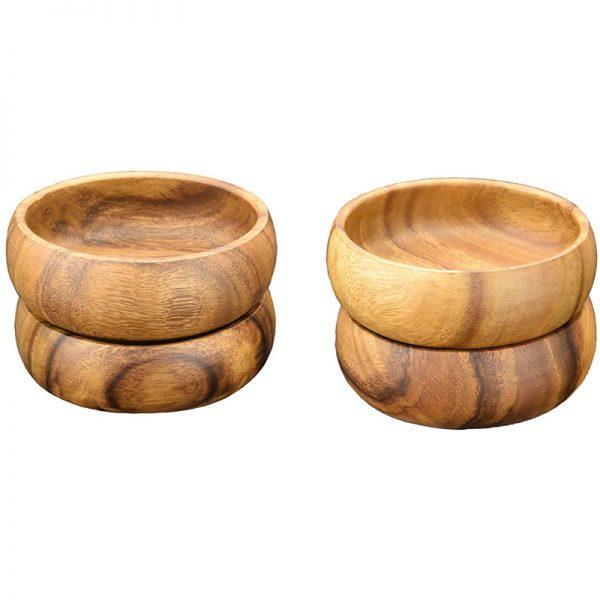 EarthHero - Round Acacia Wood Salad Bowls - 6 x 2 Inch Bowls - Set of 4
