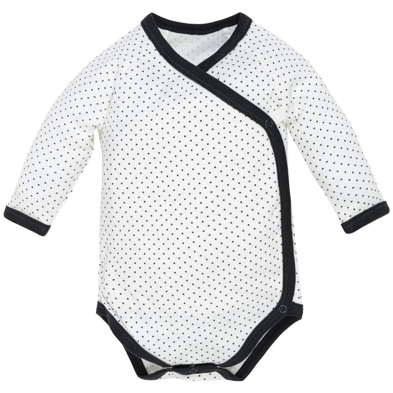 EarthHero - Organic Cotton Longsleeve Side Snap Baby Onesie - Black Polka Dot