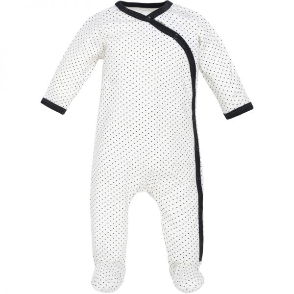 EarthHero - Organic Cotton Side Snap Baby Footie Onesie - Black Polka Dots