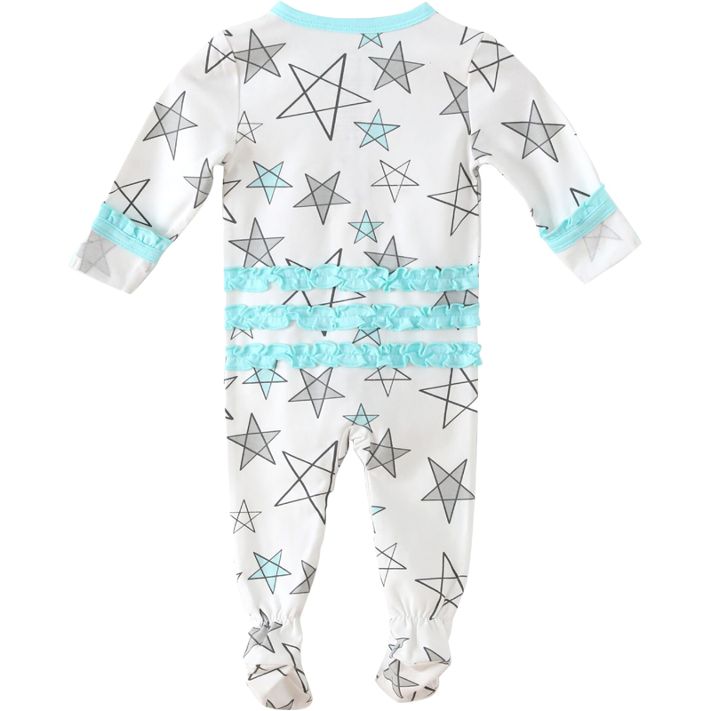 EarthHero - Aqua Star Delight Ruffled Zipper Onesie - 1