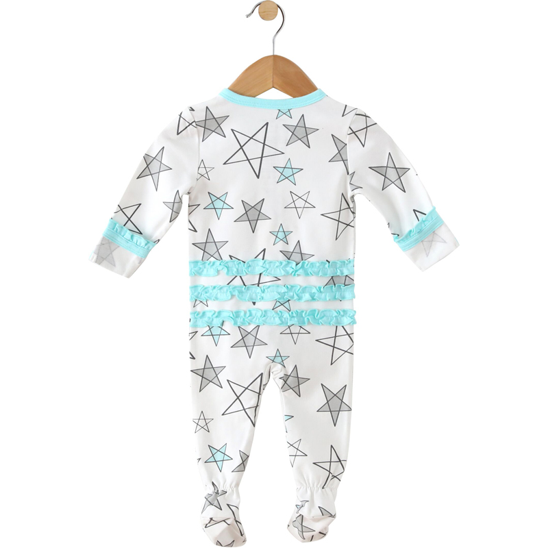 EarthHero - Aqua Star Delight Ruffled Zipper Onesie - 2