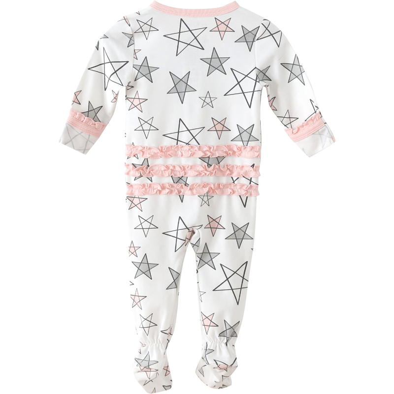 EarthHero - Pink Star Delight Ruffled Zipper Onesie - 1