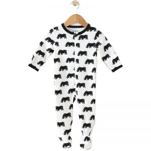 EarthHero - Save the Rhino Zipper Onesie for Baby - 1