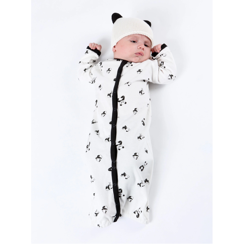 EarthHero - Organic Cotton Panda Knit Baby Hat - 12