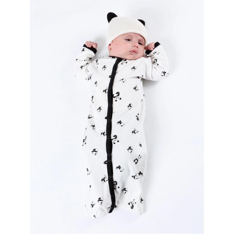 EarthHero - Panda Print Convertible Baby Romper - 12