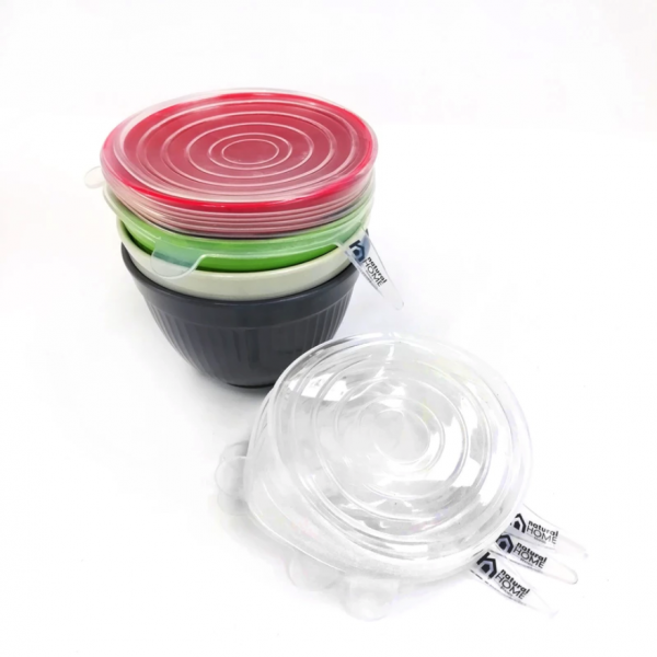 EarthHero - Ribbed Molded Bamboo® 4 Piece Small Bowls and Lids - Silicone Lids