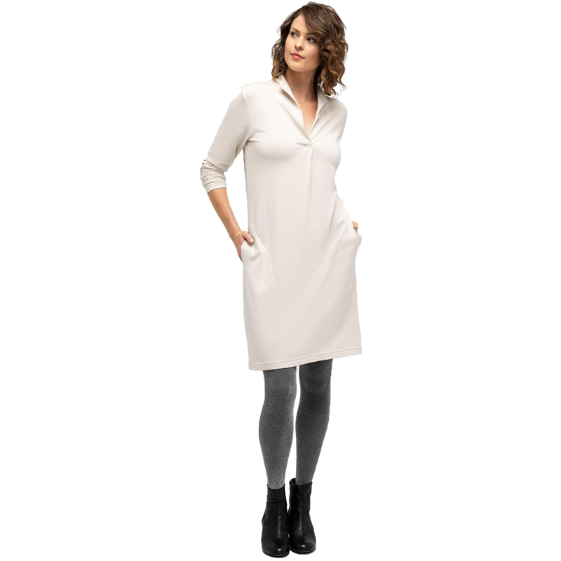 EarthHero - Longsleeve Elementerry Mock V Women's Dress - Ivory
