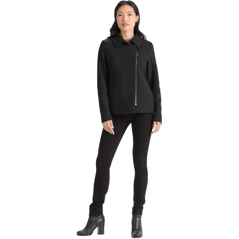 EarthHero - Women's Boiled Wool Moto Jacket - Caviar